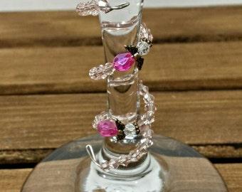 Pink Angel Wine Charm, Long Wine Charm, Wine Glass Decor, Wine Decorations, Pink Wine Glass, Personalized Wine Charm, Wrapped Wine Charm