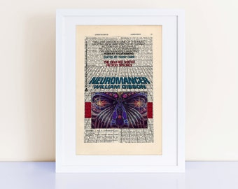 Neuromancer by William Gibson Print on an antique page, Book Cover Art