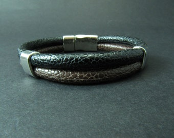 EXPRESS SHIPPING - Leather Band Cuff Bracelet Brown & Black Leather Bracelet