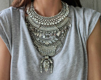SALE! Statement Necklace - Handcrafted: Judah. Silver & clear crystal layered ethnic bohemian necklace