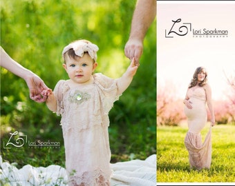Mommy and Me dress, lace dress, vintage dress, remade mommy dress