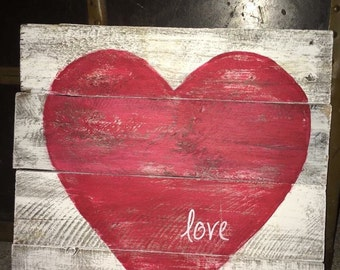 Valentine's Day , Rustic wood heart, love sign m, white paint with red heart