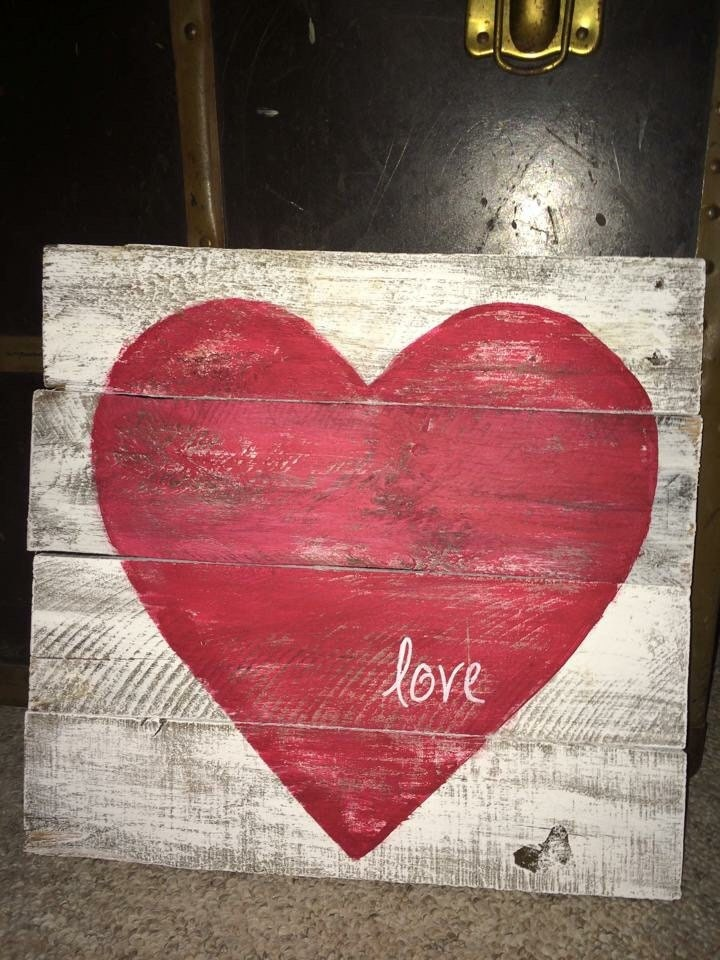 Valentine Signrustic Wood Heart Love Sign White Paint With