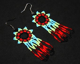 Huichol Earrings, Native American Beaded Earrings, Huichol Jewelry, Huichol Beadwork, Mexican Beaded Earrings, Seed Bead Earrings, Sky Blue