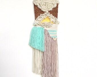 Copper, aqua and beige small  weave for IMMEDIATE shipping