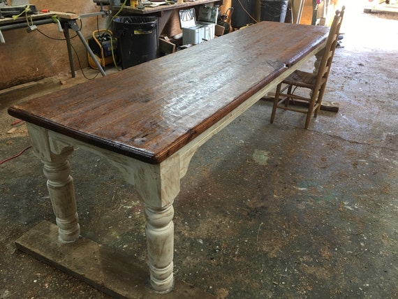 Items similar to 10 foot antique oak farmhouse table on etsy for 10 foot farmhouse table plans