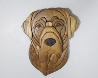 "Lab Wallhanging Intarsia 13"" by 10"" Wood Intarsia Sculpture Mosiac Wallhanging Dogs"