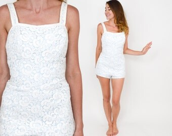 50s White Lace Swimsuit | One Piece Bathing Suit | Robbie Le Fashions | Medium