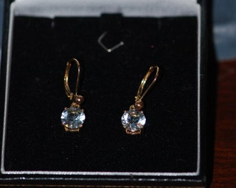 Aquamarine Earrings, faceted pale blue aquamarine dangle earrings with 14kt gold lever back ear wires, J0333