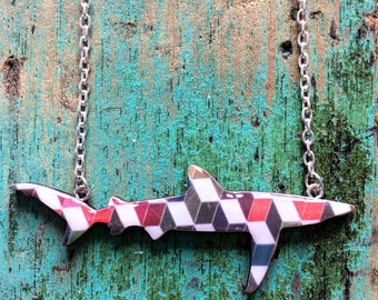 Shark Necklace / Blue Shark Necklace - Geo Garden Actives - Orange Geo