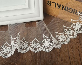 White embroidery Lace,Lace Clothing,weddings Lace,Lace Trim,Lace dress,Wedding Gown,2.76 inches wide 2 yards, MS96