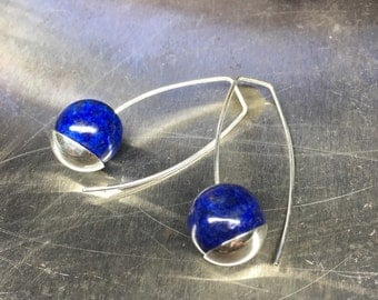 Lapis lazuli and Argentium Sterling Silver handmade earrings.