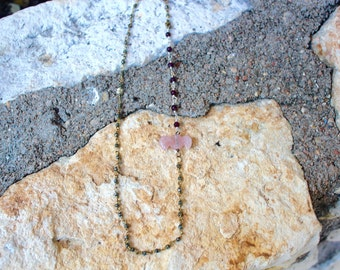 Rose Quartz Bat Necklace