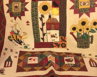 Applique Country Style Wall Hanging Red, green, Cream Colour Farm Animals Sunflower Bordered With Vine 46.5X45 Quiltsy Handmade