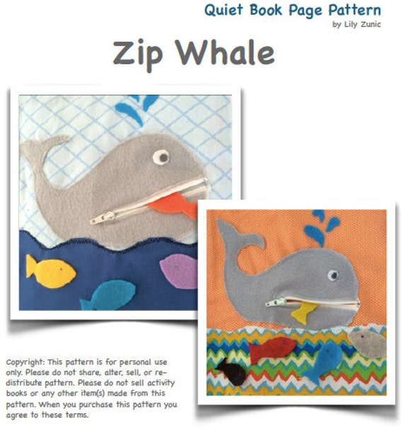 Pattern For Book Cover With Zipper : Zipper whale quiet book page pdf pattern