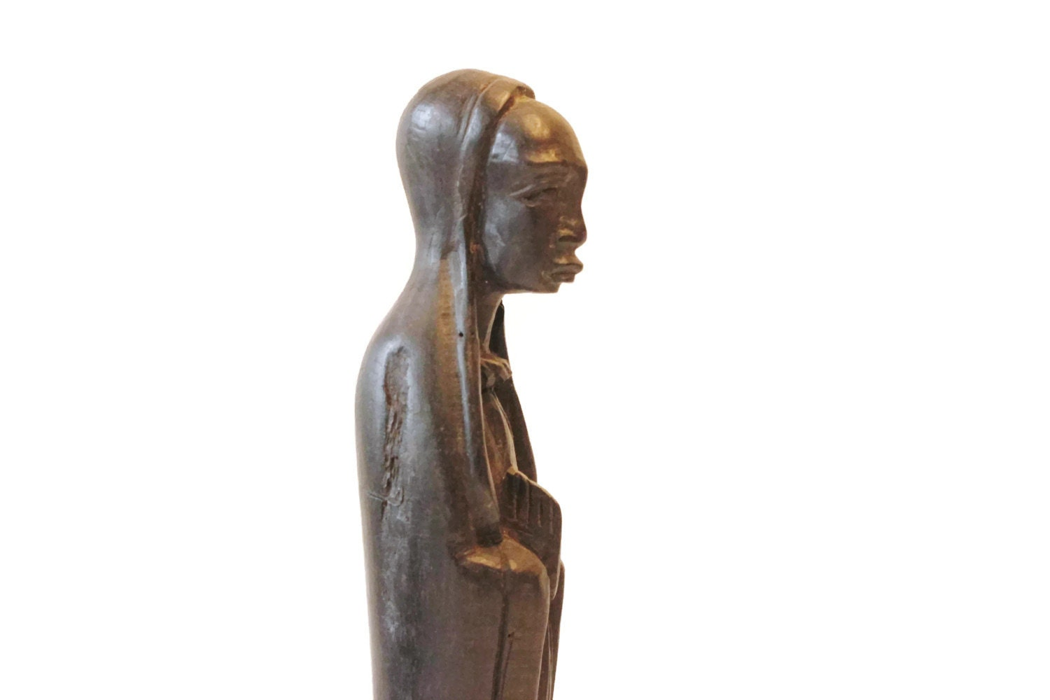 Antique hand carved african religious figure wooden