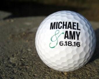 Personalized Golf Balls - SET OF 12 -  Custom Golf Balls - Printed Golf Balls =  Wedding Golf Balls - Golf Wedding