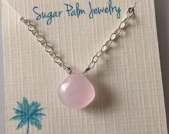 Pink Chalcedony Gemstone Pendant Necklace
