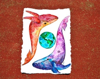 Watercolor whales, whale art, whale nursery