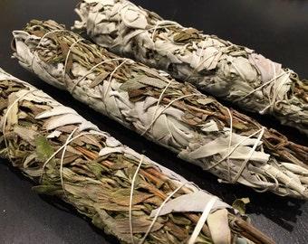 "Lavender Sage Smudge Stick 8"" - dried lavender bundle - white sage bundle - California white sage - smudge - smudge stick - 8"" smudge stick"