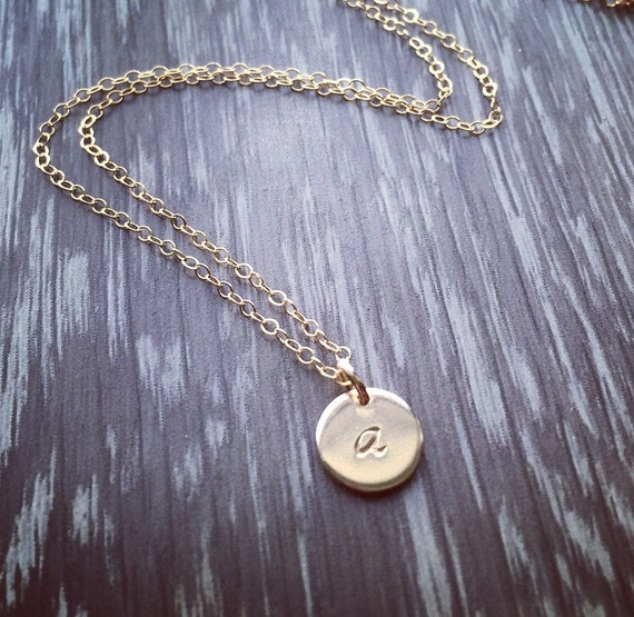 Gold filled initial disc necklace; personalized stamped disc necklace; Bridesmaids gifts