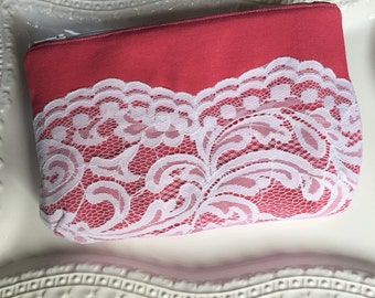 Zipper Pouch, Bridesmaid Clutch, Lace, Raspberry Pink