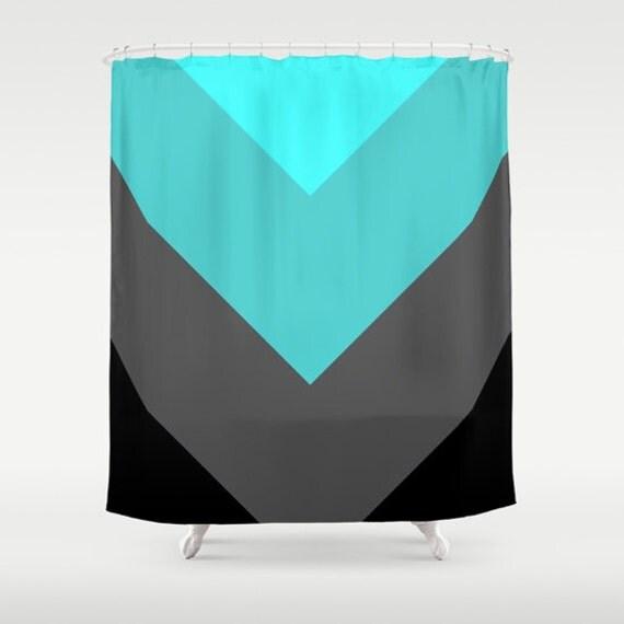 Items Similar To Shower Curtain Aqua Teal Gray Shower Curtain Chevron Stripes Shower Curtain