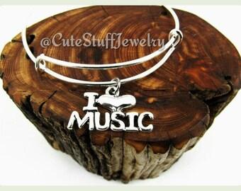 I Love Music Bracelet, I Love Music Bangle, Musician Bracelet, Musician, Singer Bracelet, Handmade Bangle Bracelet, Gift Music Jewelry
