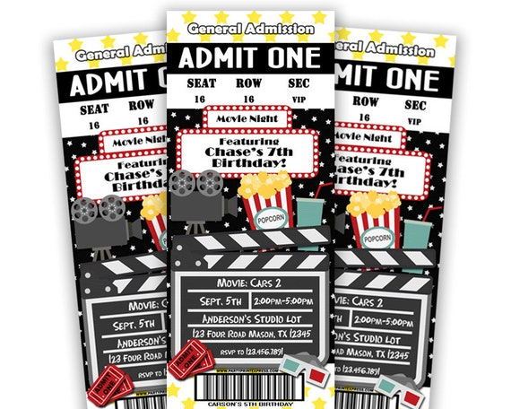 printable movie ticket invitation movie birthday party invite movie party movie night invitations movie tickets cinema party diy - Movie Birthday Party Invitations
