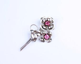 Sterling Silver Vintage Flower with Pink Rhinestone Vintage Brooch