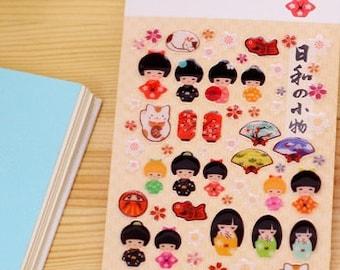 Kawaii  Kokeshi Doll Epoxy Stickers -  Kokeshi Doll 3D Stickers