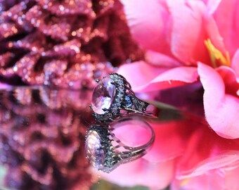 925 sterling silver Ruby Gemstone Black Gold Filled Engagement ring size 8 1/2