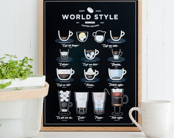 World Style Coffee Print 11x14 12x16 16x20 A3 A4- kitchen poster, coffee print, coffee lover, gift for christmas, black