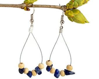 Lapis lazuli jewelry, boho bohemian earrings natural gemstone jewelry lapis lazuli silver earring bohemian boho jewelry dangle earring waina