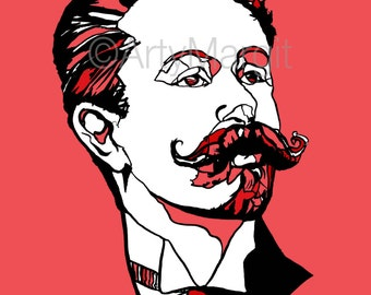 Alexander Scriabin Russian composer and pianist Giclee print poster of handmade ink drawing Gift for Musician and people who love music