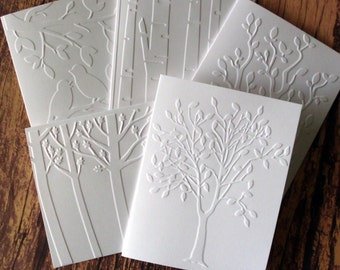 Assorted Tree Cards, Set of 5, White Embossed Tree Card Set, Trees, Branches, Birds Note Card Set, Autumn/Fall Tree Cards, Variety Pack