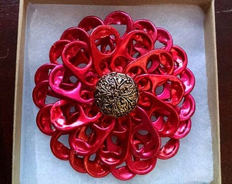 Red and gold flower hair pin | pull tab | handmade | upcycle | READY TO SHIP