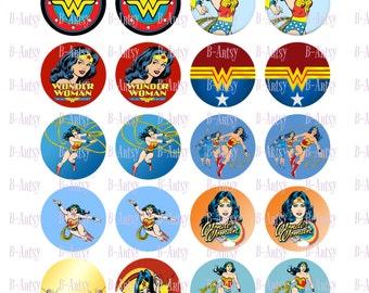 Wonder Woman 18mm circle digital sheet, Instant Download,