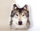 GREY WOLF PILLOW, woodland style, animal cushion, wolf plush, cabin decor, 14х17