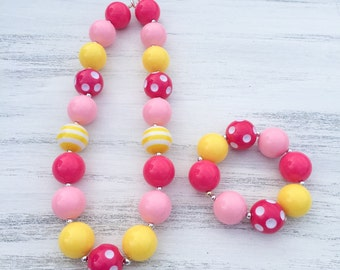 Pink and Yellow Bubblegum Necklace, Lemonade Birthday Necklace, Girl Toddler Necklace, Pink Polka Dot Baby Necklace, 1st Birthday Necklace