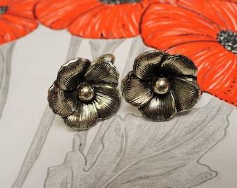 Vintage 1940's Sterling Silver Flower BEAU Earrings Sterling Earrings Screw Back Style Earrings Vintage Jewelry