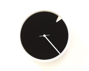 Minimalist II - white wood + black acrylic small wall clock with rotating dial