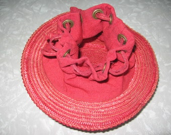 SALE! Vintage Unique and Unusual Red Straw Top Hat-Drawstring Purse!