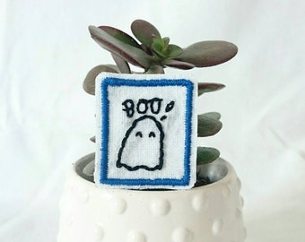 SALE boo little ghost patch - hand embroidered iron on patch