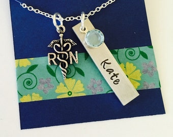 Nurse Necklace, Registered Nurse Necklace, Personalized Nurse Necklace, RN Necklace , Nurse Necklace with Name, Nurse Gift, Nursing School