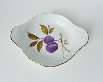 Vintage Royal Worcester Evesham Gold Plum Porcelain Au Gratin Dish Plate Oven to Table British Table wear Cook wear
