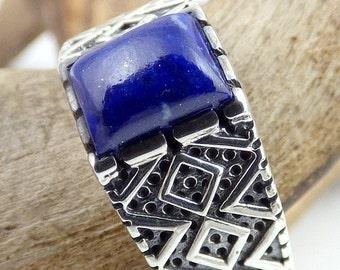 RING man LAPIS lazuli gem stone silver qc23.1 throat chakra