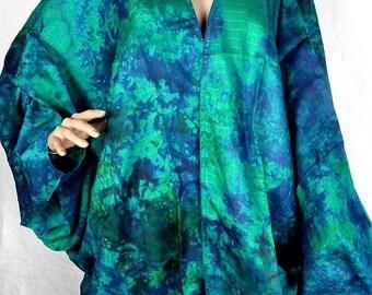 JACKET long CARDIGAN vest long blue-green silk vtd83