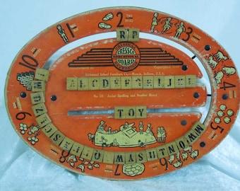 Vintage Cressco Educational Board. 1940. Reversible Wood Spelling and Number Board.