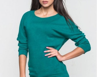 Sweater simple Autumn Winter Woman Angora Casual sweater Turquoise plain sweater